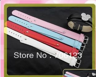1.8cm+0.8cm alphabet charms PU leather belt Buckle bracelets fashion Wristbands 100pcs mix order
