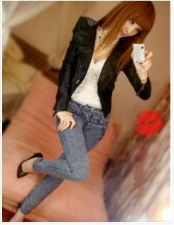2013 Zipper Design Fashion Style Leather Jacket Black free shipping 	MM11090211