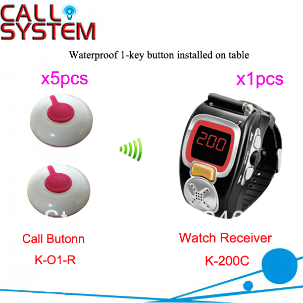 HOT!! Wireless Hotel Call Bell System for service 1 full set of 5pcs call button and 1pcs wrist watch receiver Free Shipping(China (Mainland))