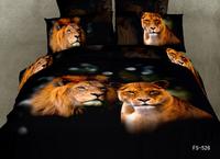 New Beautiful 4PC 100% Cotton Comforter Duvet Doona Cover Sets FULL / QUEEN / KING SIZE bedding set 4pcs animal black lion wolf