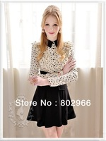 Free shipping 2013 Ladies New Fashion Full Sleeve Sheath Emprie Ruffles Work Chiffon Patchwork Womens Career Dresses FH-193078