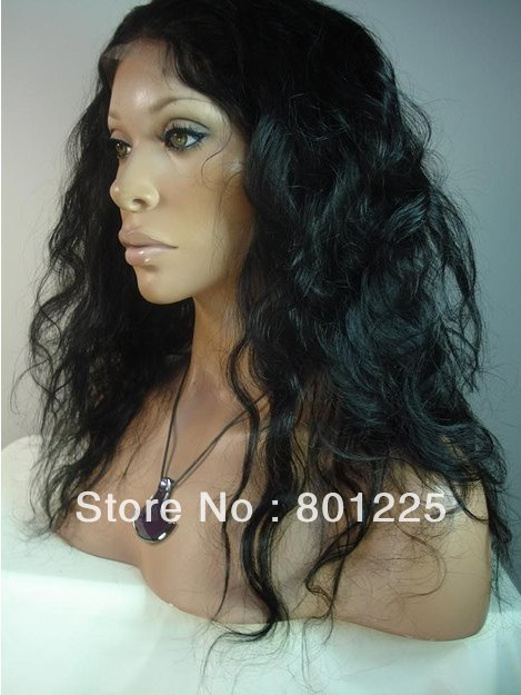 "(free shipping--+gift+globle top quality)---Malaysian hair full lace wigs 20"" natural color,natural wave ,no tangle,no shedding(China (Mainland))"