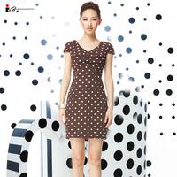 2013 spring new arrival women's fashion brief ol slim short-sleeve V-neck round polka dot print one-piece dress