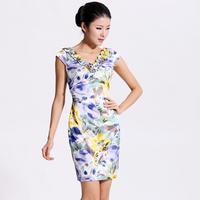 2013 women's spring the anteroposterior V-neck double slim waist slim sexy slim hip print one-piece dress