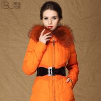 Double 12 big 2012 winter new arrival slim waist large fur collar bright color medium-long down coat female