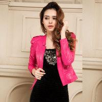 Winter female sheepskin genuine leather clothing top outerwear blazer rose slim formal brief
