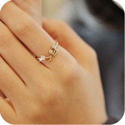 Gold Plated crystal musical note ring opening solid color thread adjustable finger ring(China (Mainland))