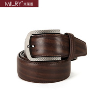 2013 fashion new Brand MILRY 100% Genuine leather belt for men waistband with pin buckle coffe with gift box CL0006