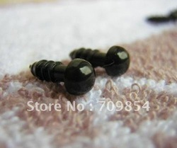 free shipping!!! 1000pcs/lot 6mm MINI full black PLASTIC SAFETY ERES toy eye toy nose(China (Mainland))