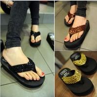 1pair/lot,2014 new fashiong summer Outdoor beach high-heeled Platform Women Flip Flops shoes