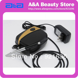 Portable Nail Art Airbrush Kit Mini Air Compressor 0.4mm Nozzle Airbrush Free Shipping(China (Mainland))