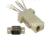 Free Shipping  DB9 F to RJ45 Adapter Gray Colo DB9 to RJ45 assemble DB9 with shell,adjustable D-SUB with shell.D-SUB/DB9