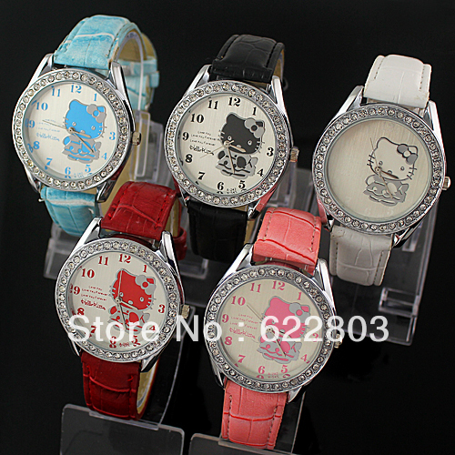 Hot hello kitty fashion diamond watch women's wacth free shipping(China (Mainland))