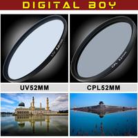Digital boy Filter set 52mm UV CPL Circular polarizing Lens filter Kit for Nikon D3100 D5100 D5000 D3000 Free Shipping