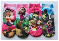 wholesale babys cotton socks 2-15years masha and bear cartoon socks 12pcs/lot can chose size  fit childrens 2349