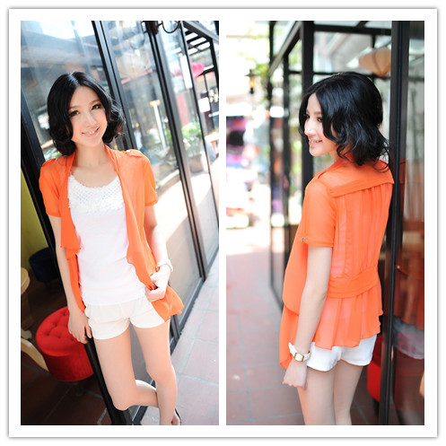 Women's design short outerwear thin gauze lace shrug cardigan sun protection clothing air conditioning shirt outerwear(China (Mainland))