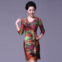 Summer 2013 elegant slim plus size clothing elastic knitted stripe print hip slim one-piece dress