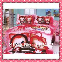 Fox Pink Cartoon Cotton children 3pcs Bedding Set Kid Bedding Free Shipping