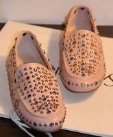 Im gem diamond rivet flat heel single shoes genuine leather women's shoes