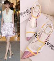 2013 ruslana korshunova sandals color block decoration pointed toe shoes strap high-heeled sandals female women's shoes