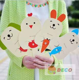 New item.Kawaii animal design mini fan, hand fans, cute paper fans . wholesale(ss-4803)