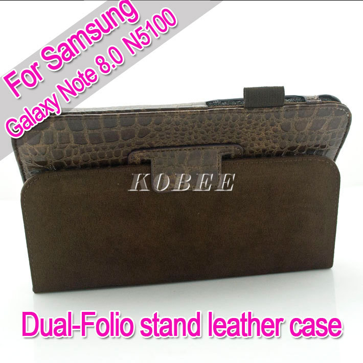 Wholesale two-folio Crocodile Stand Leather Case Cover For Samsung Galaxy Note 8.0 N5100(China (Mainland))