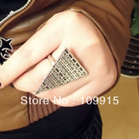 Retro Vintage Punk Pyramid Taper Geometrical Triangle Adjustable Ring Rings LKJ19 Free Shipping
