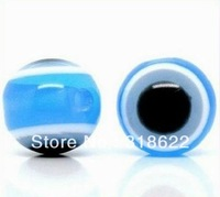 2013 Wholesale! 6mm/8mm/10mm/12mm Light Blue Evil Eye Stripe Round Resin Spacer Beads Chunky Resin Beads Free shipping