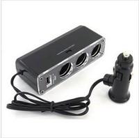 20pcs free shipping for 3-Way Car Cigarette Lighter three Socket Splitter DC 12V +USB charger supply and Triple socket