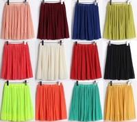 Free shipping 2013 spring summer high waist chiffon short skirt fashion pleated skirt expansion skirt Bubble Skirt 14 colors