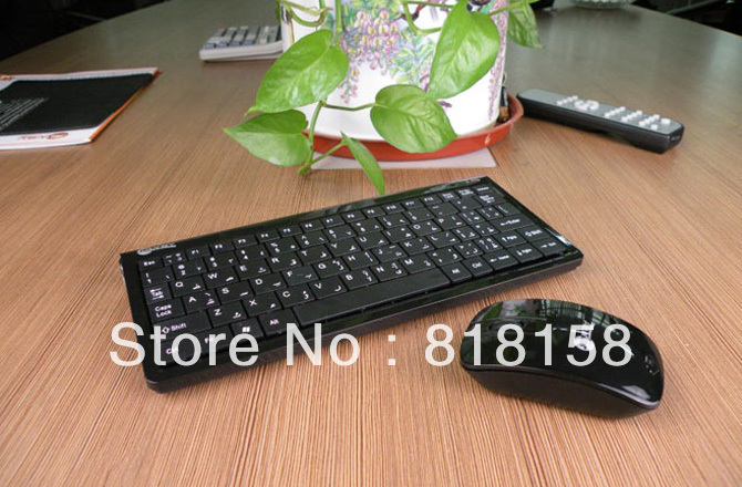 HOT! Cheap Black Wireless 2.4GHz Keyboard Combos Keyboard Mouse Set for Computer Laptop / OEM(China (Mainland))