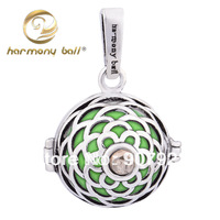 HOT Fashion Ringing Bells, 925 Sterling Silver Blank Champagne Stone Pendant,  Harmony Ball Jewelry Accessory H47-18-C7 18*16mm
