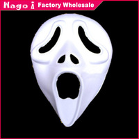 Free Shipping (12pcs/lot) Halloween Terrible Ghost Unpainted White Paper Party Masks for DIY Hand-painted