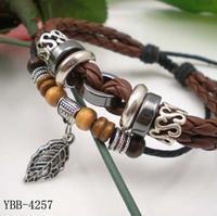 Male Leather Bracelet Leaf Multi-layer Fashion Personality Punk Bracelets Men Women Free Shipping LE100