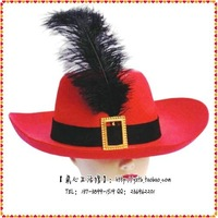 Free shipping Halloween props party hats supplies hat red hat feather cap