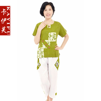 Quinquagenarian women's summer short-sleeve T-shirt set plus size casual middle-age women mother clothing summer