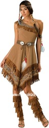 free shipping Ladies Pocahontas Native American Indian Wild West Fancy Dress Party Costume S-XL(China (Mainland))