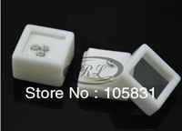 15pcs High quality Plastic personalized jewelry box for loose diamond crystal displays 2colors foam inside black & white 3*3cm
