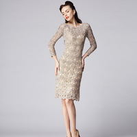 Free shipping 2013 spring ladies elegant cutout embroidered wrist-length sleeve formal dress one-piece dress d3007