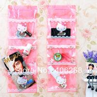 free shipping wholesale cheap!!!Pink hello kitty transparent pvc three layers storage bag sundries storage hanging bag