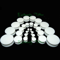 Free Shipping 110pcs/lot Double Flare White Solid Acrylic Saddle Ear Plugs Piercing Expander 3-20mm