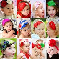 New style kid children infant toddler beautiful feather headdress headband bow