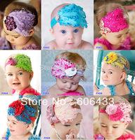 Baby infant Girl Children adorable Lace Headband Feather headdress Bow Rhinestone Gorgeous Hairband!