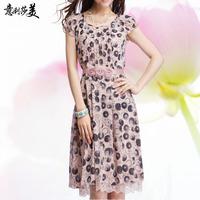2013 new fashion casual autumn summer one-piece dress elegant polka dot lace patchwork short-sleeve chiffon 4xl plus big size