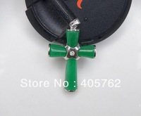 Green jade pendant, alloy inlaid cross.Amulets, pendants necklaces pendants 34x25x6mm
