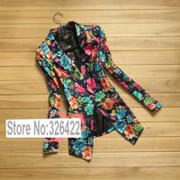Autumn Winter Outerwear Vintage Fashion Ladies Vintage Floral Print Coat Suit Jacket And Blazer Women Branco Feminino 2014
