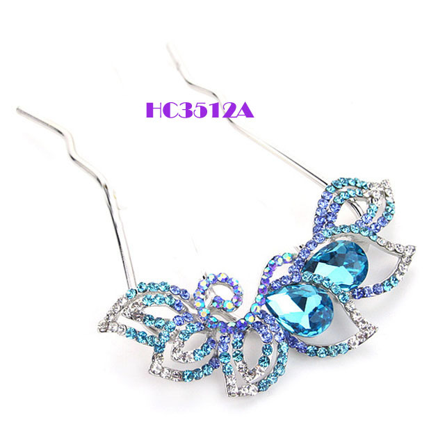 6pcs/lot+Free shipping ! 2013 woman's flower crystal hairclip jewelry wholesale, mothers alloy hair clips, mixed color available(China (Mainland))