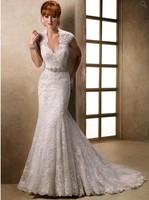 Astonishing V Neckline Beaded Waistline Keyhole Back Sexy Lace Beach Wedding Dresses