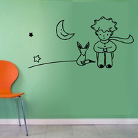 Free Shipping Little Prince Fox Wall Sticker Kid Room Decor Mural Art Vinyl Wallpaper Home Window Glass Decoration Decal W150