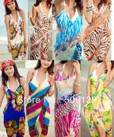50 pcs of 5 style wrap skirt Beach cover up Beach dress swimwear sarong multifunction 2012 new style